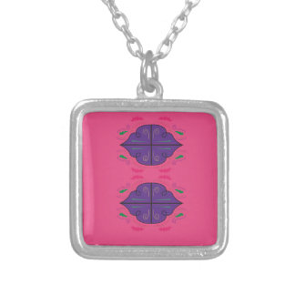 Ornaments purple pink silver plated necklace