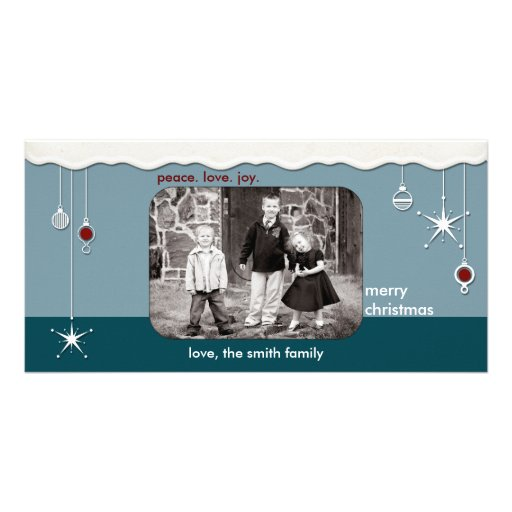 Ornaments & Snow Christmas Greeting Customized Photo Card