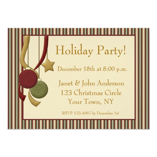 Ornaments Stripes Holiday Invitation