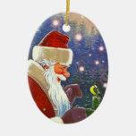 Ornaments Vintage Woodland Santa Claus Christmas