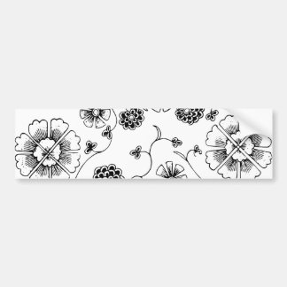 Ornate Abstract Flower Textile Pattern Bumper Sticker