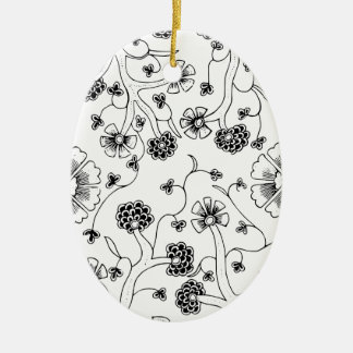 Ornate Abstract Flower Textile Pattern Ceramic Ornament