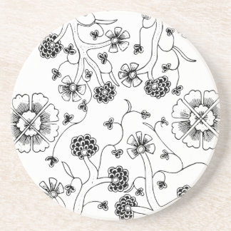 Ornate Abstract Flower Textile Pattern Coaster