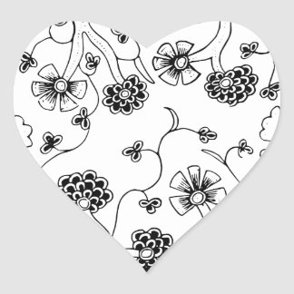 Ornate Abstract Flower Textile Pattern Heart Sticker