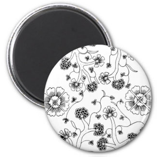 Ornate Abstract Flower Textile Pattern Magnet
