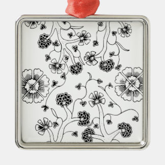 Ornate Abstract Flower Textile Pattern Metal Ornament