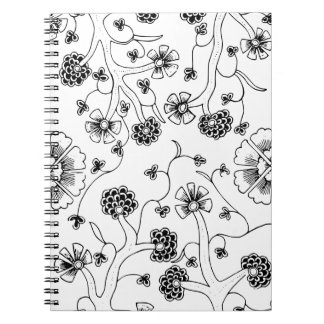 Ornate Abstract Flower Textile Pattern Notebook