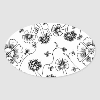 Ornate Abstract Flower Textile Pattern Oval Sticker