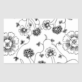 Ornate Abstract Flower Textile Pattern Rectangular Sticker