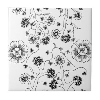 Ornate Abstract Flower Textile Pattern Small Square Tile