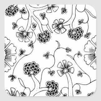 Ornate Abstract Flower Textile Pattern Square Sticker