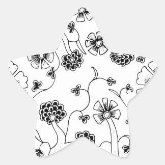 Ornate Abstract Flower Textile Pattern Star Sticker