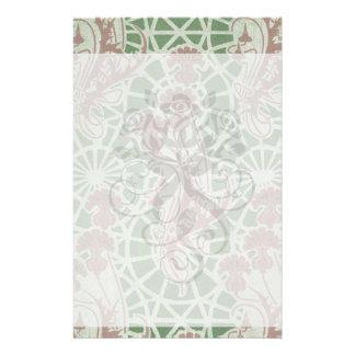 ornate art nouveau flora pattern design customized stationery