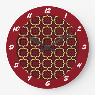 Ornate barbed quatrefoil (color adjustable) wall clock
