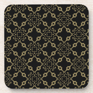 Ornate Black and Gold Beverage Coaster