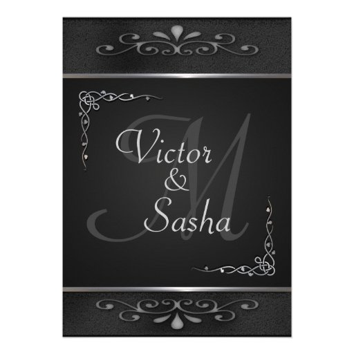 Ornate Black and Silver Wedding Invitations