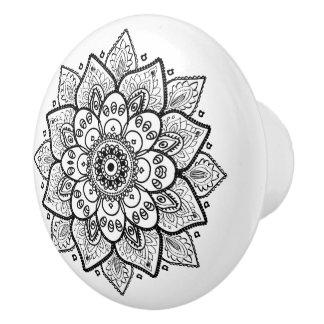 Ornate Black Floral Mandala Ceramic Knob