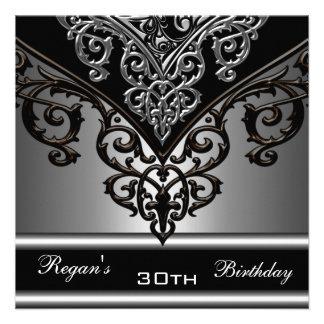 Ornate Black Grey Silver 30th Elegant Birthday Invitations