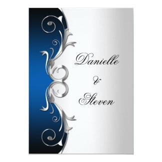 Ornate Blue Black Silver Post Wedding Celebration Personalized Invitations