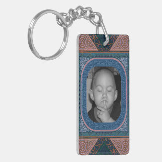 Ornate Blue Faux Bois Carved Look Photo Frame Double-Sided Rectangular Acrylic Key Ring