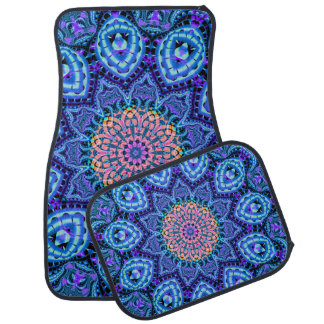 Ornate Blue Flower Vibrations Kaleidoscope Art Car Mat