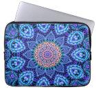 Ornate Blue Flower Vibrations Kaleidoscope Art Laptop Sleeve