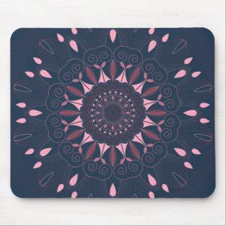 Ornate Boho Mandala Navy and Rose Mouse Pad