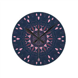 Ornate Boho Mandala Navy and Rose Round Clock