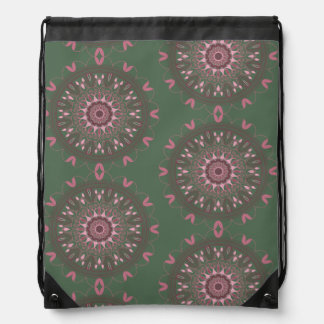 Ornate Boho Mandala Olive Drawstring Bag