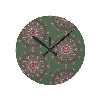 Ornate Boho Mandala Olive Round Clock