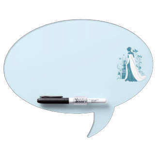 Ornate Bride Silhouette, flowers and gothic castle Dry Erase Board