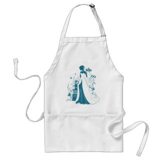 Ornate Bride Silhouette, flowers and gothic castle Standard Apron