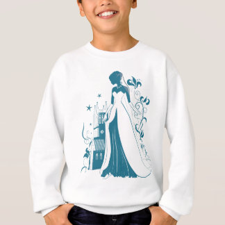Ornate Bride Silhouette, flowers and gothic castle Sweatshirt