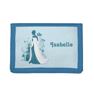 Ornate Bride Silhouette, flowers and gothic castle Tri-fold Wallet
