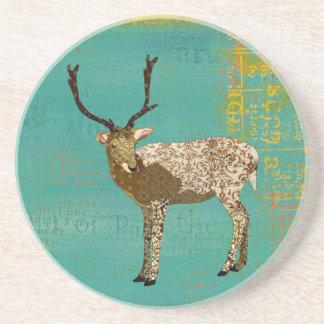 Ornate Bronze Buck Teal  Coaster