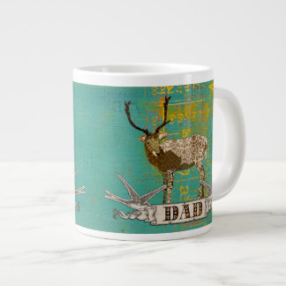 Ornate Bronze Buck Teal Dad  Mug