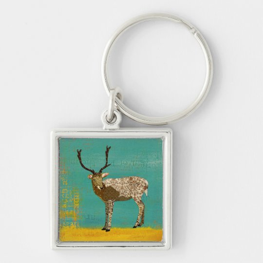 Ornate Bronze Buck Teal Keychain
