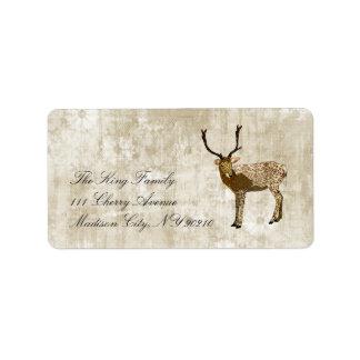 Ornate Bronze Buck Whitewash Floral Vintage  Label Address Label