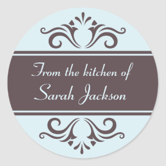 Ornate brown and pale blue kitchen labels stickers