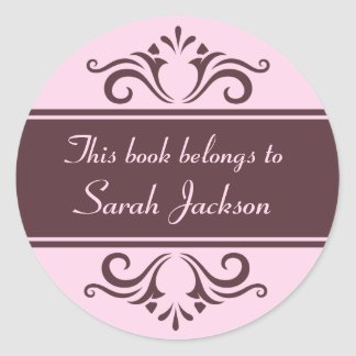Ornate brown and pale pink book plate stickers