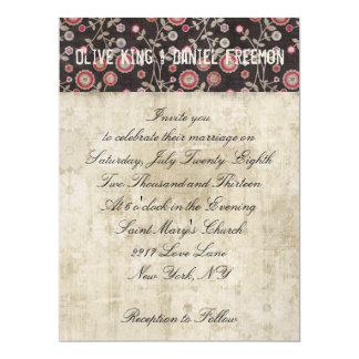 Ornate Buck Floral White & Brown Wedding Invitatio 17 Cm X 22 Cm Invitation Card