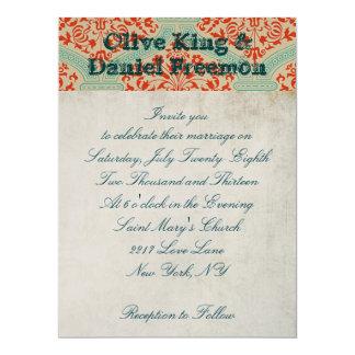 Ornate Buck White & Damask            Ornate Weddi 17 Cm X 22 Cm Invitation Card