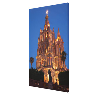 Ornate Cathedral Lit At Night Canvas Print