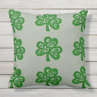 Ornate Celtic Shamrock Outdoor Cushion