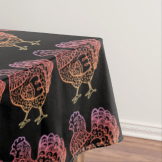 Ornate Chicken Lineart Tablecloth