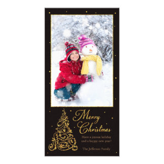 Ornate Christmas Tree Black Glitter Personalized Photo Card