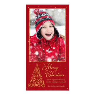 Ornate Christmas Tree Gold Custom Photo Card
