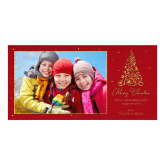 Ornate Christmas Tree Gold Personalized Photo Card