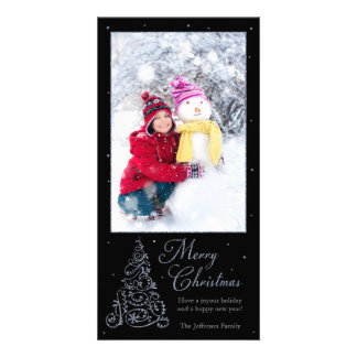 Ornate Christmas Tree Silver Personalized Photo Card