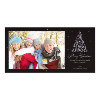 Ornate Christmas Tree Silver Picture Card
